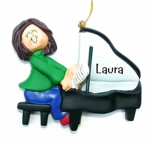 Piano Players - Bread Dough Style Ornaments -  Personalization!