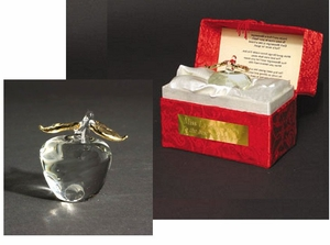"SPECIAL PURCHASE - Presentation Blown Glass Apple ""Messenger"" in Brocaid Gift Box"