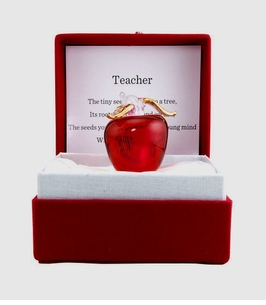 "BACK IN STOCK! Presentation Blown Glass Gold gilded Red Apple ""Messenger"" 2 choices"