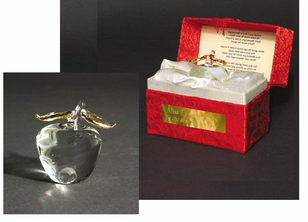 "Presentation Blown Glass Apple ""Messenger"" in Brocaid Gift Box"
