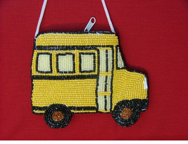 Pretty Beaded School Bus Coin Purse