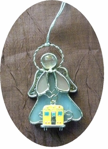 Pretty REAL Stained Leaded Glass School Bus Ornament