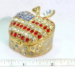 Pretty Rhinestone Patriotic Apple Trinket Box