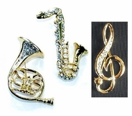 Pretty Trombone,  Saxaphone or G-Clef Fashion Pins