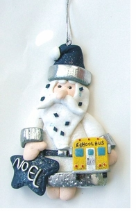 School Bus Noel Santa Ornament --ON SALE!