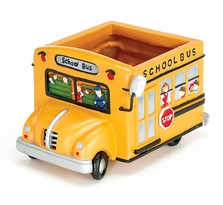School Bus Polyresin Planter/Tissue Box Holder