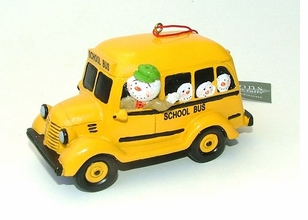 School Bus Polystone Ornament --ON SALE!