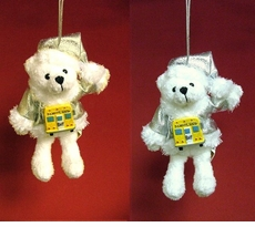 Shiny Santa School Bus Bear Ornament --ON SALE!