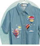 Short Sleeve Hot  Air Balloon Denim Shirt s ON SALE!!