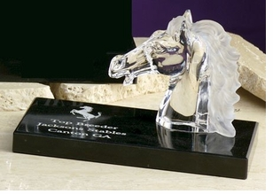 Small Crystal Horse /Mustang Head on Base