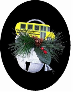 Snow Encrusted Metal Bell Ornament with School Bus