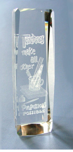 Teacher Lazer Crystal Paperweight/Award on optional Lighted base