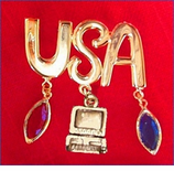 USA Computer Dangle Pin