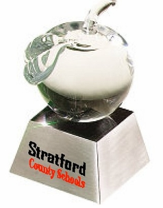 Value Price Glass Apple Award on Aluminum Base
