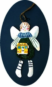 VALUE PRICED! Cute School Bus Country Guardian Angel Tin Ornament --ON SALE!