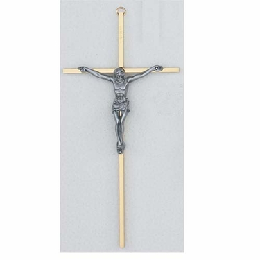 "10"" Brass Crucifix with Silver Corpus C510-148LS"