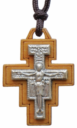 """15"""" Necklace with 1.25"""" Wood San Damiano Crucifix, SN06"""