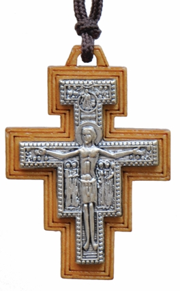 "Necklace with 1.75"" Wood San Damiano Crucifix, SN07"