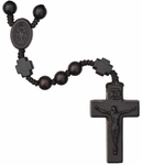 "16.5"" Rosary with 8mm Jujube Wood Beads and Cross, R3656"