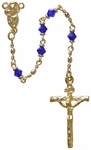 "18"" Chain-Link Rosary with 4mm Blue Crystal Beads, R2754"