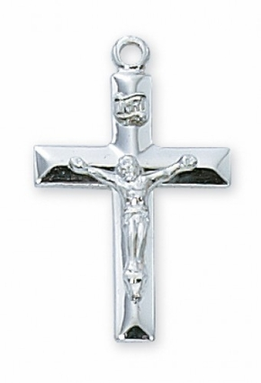 """18kt Gold or Sterling -- 2.1cm Crucifix with 18"""" chain"""