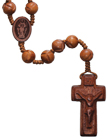 "19""  Rosary with Carved 10mm Jujube Wood Beads, R3550"