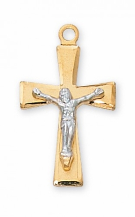 """2.0 cm SterlingSilver/Gold Crucifix with 18"""" chain"""
