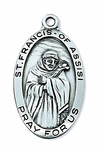 2.7cm Sterling Silver Medal of Saint Francis of Assisi, Patron of Animals