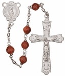 "20"" Chain-link Rosary with 6mm Gold Stone Beads, R1356"