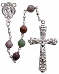 "20"" Chain-link Rosary with 6mm Multicolor Onyx Beads"