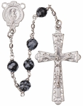 "20"" Chain-link Rosary with 6mm Snowflake Obsidian Beads, R1756"
