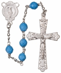 "20"" Chain-link Rosary with 6mm Turquoise Beads, R1656"