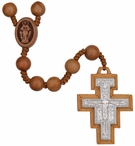 "21"" Franciscan 7 Decade Rosary with 8 mm Jujube Wood Beads, R3572"