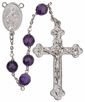 "24"" Chain-link Rosary with 8mm Amethyst Beads, R1458"