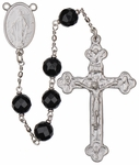 "24"" Chain-link Rosary with 8mm Black Onyx Beads, R958"