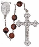 "24"" Chain-link Rosary with 8mm Mahogany Obsidian Beads, R1058"