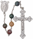 "24"" Chain-link Rosary with 8mm Multicolor Onyx Beads, R858"