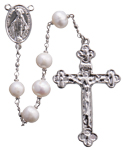 "24"" Chain-link Rosary with 8mm Pearl Beads"
