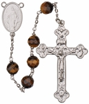 "24"" Chain-link Rosary with 8mm Tiger Eye Beads, R1258"