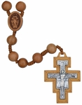"25"" Franciscan 7 Decade Rosary with 10 mm Jujube Wood Beads, R3571"