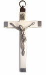"4.5"" White Metal Crucifix"