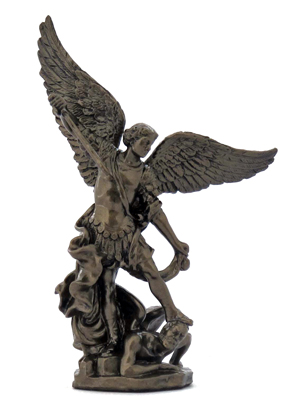 "4"" St. Michael Cold-Cast Bronze Statue"