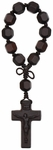"""5.75"""" 1-Decade Rosary with 12mm Hex Cut Jujube Wood Beads, R3613"""