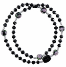 5 Decade Rosary Bracelet with 4mm Black Crystal Beads, RBS69