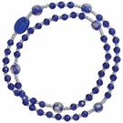 5 Decade Rosary Bracelet with 4mm Blue Crystal Beads, RBS61