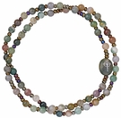 5 Decade Rosary Bracelet with 4mm Multicolor Onyx Beads, RBS68