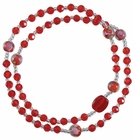 5 Decade Rosary Bracelet with 4mm Red Crystal Beads, RBS62