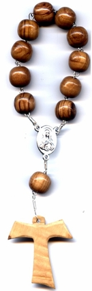 Olive Wood Beads from Bethlehem One Decade Rosary with Tau Cross