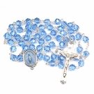 LARGE 7 MM BLUE TINCUT BEAD ROSARY