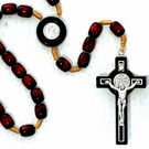 8x10mm Black or Brown Wood St. Benedict Rosary with Card